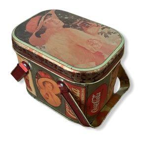 Vintage 1980s Coca Cola retro art tin basket